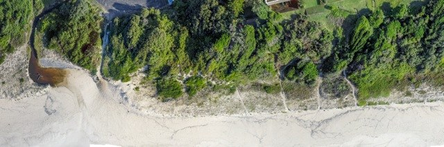 Aerial photo of south end Blueys Beach before start of work