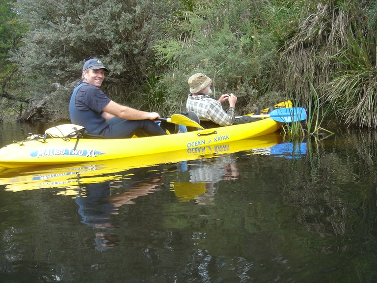 Canoeing Paul Bott and Paul Dan