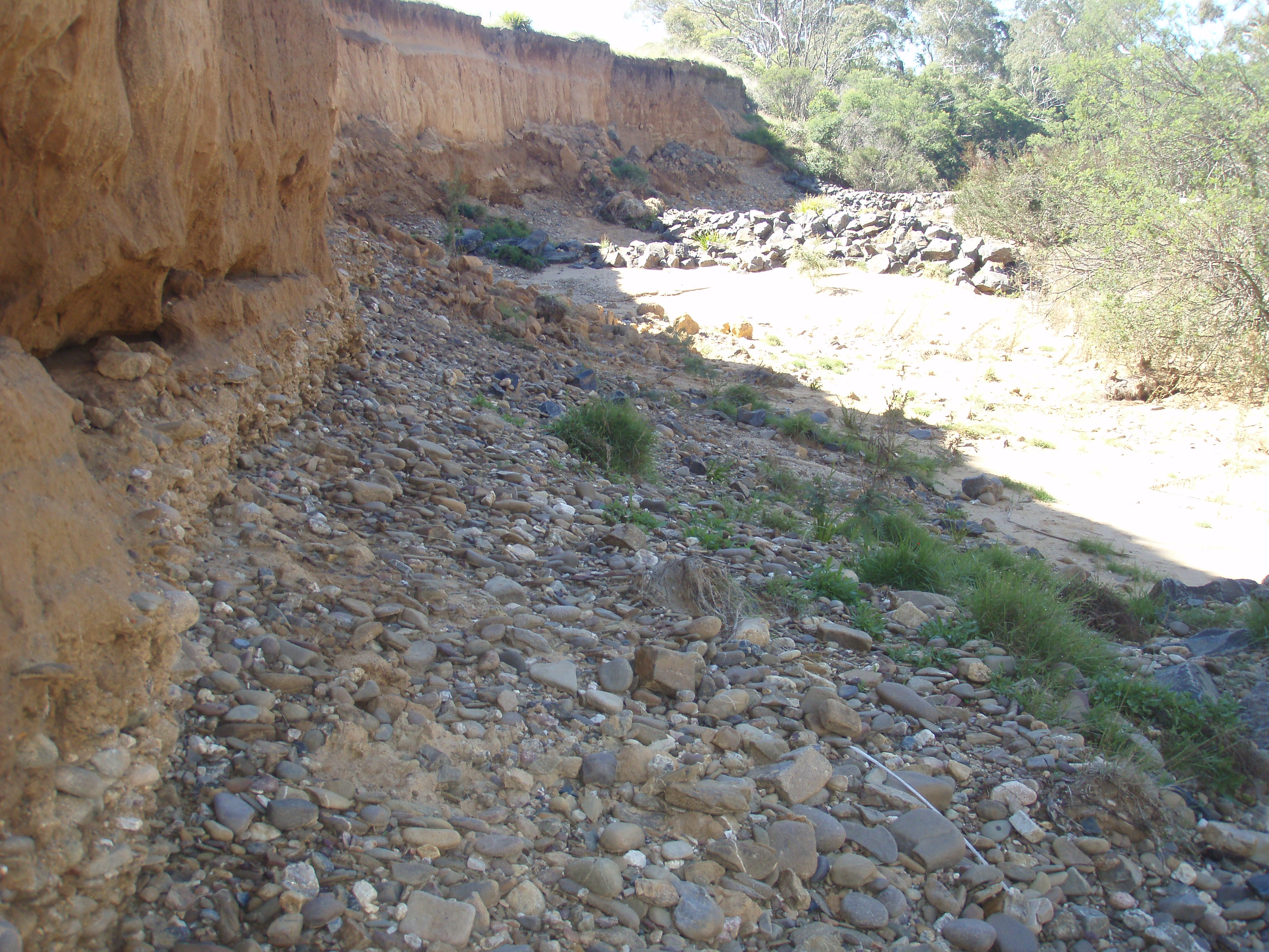 View of erosion wall and a groin rock wall