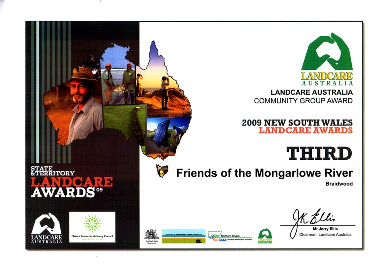 Third Prize Landcare Awards Certificate