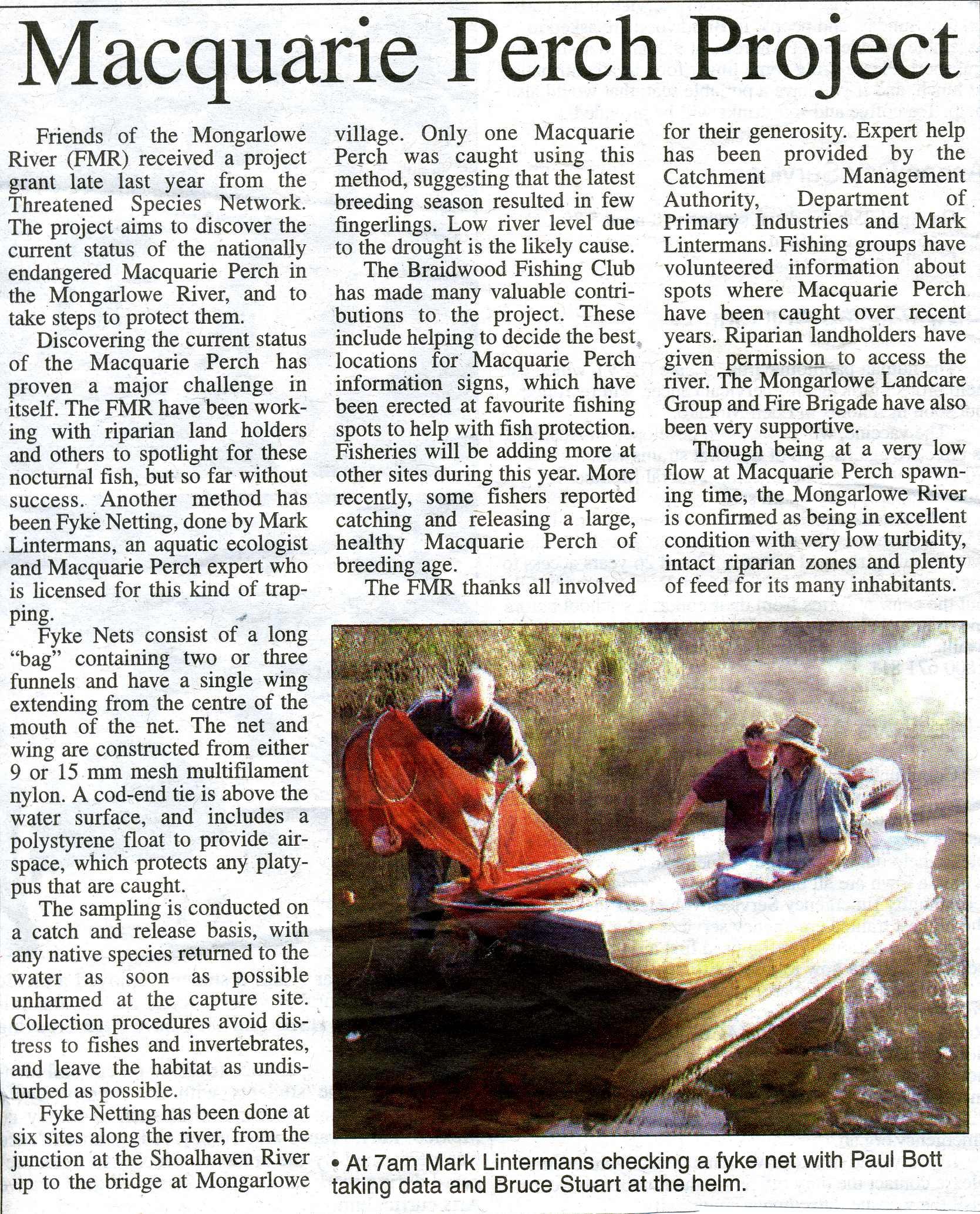 Newspaper article Macca Project
