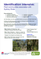 Identification intensive - Plant Communities associated with Sydney Shale