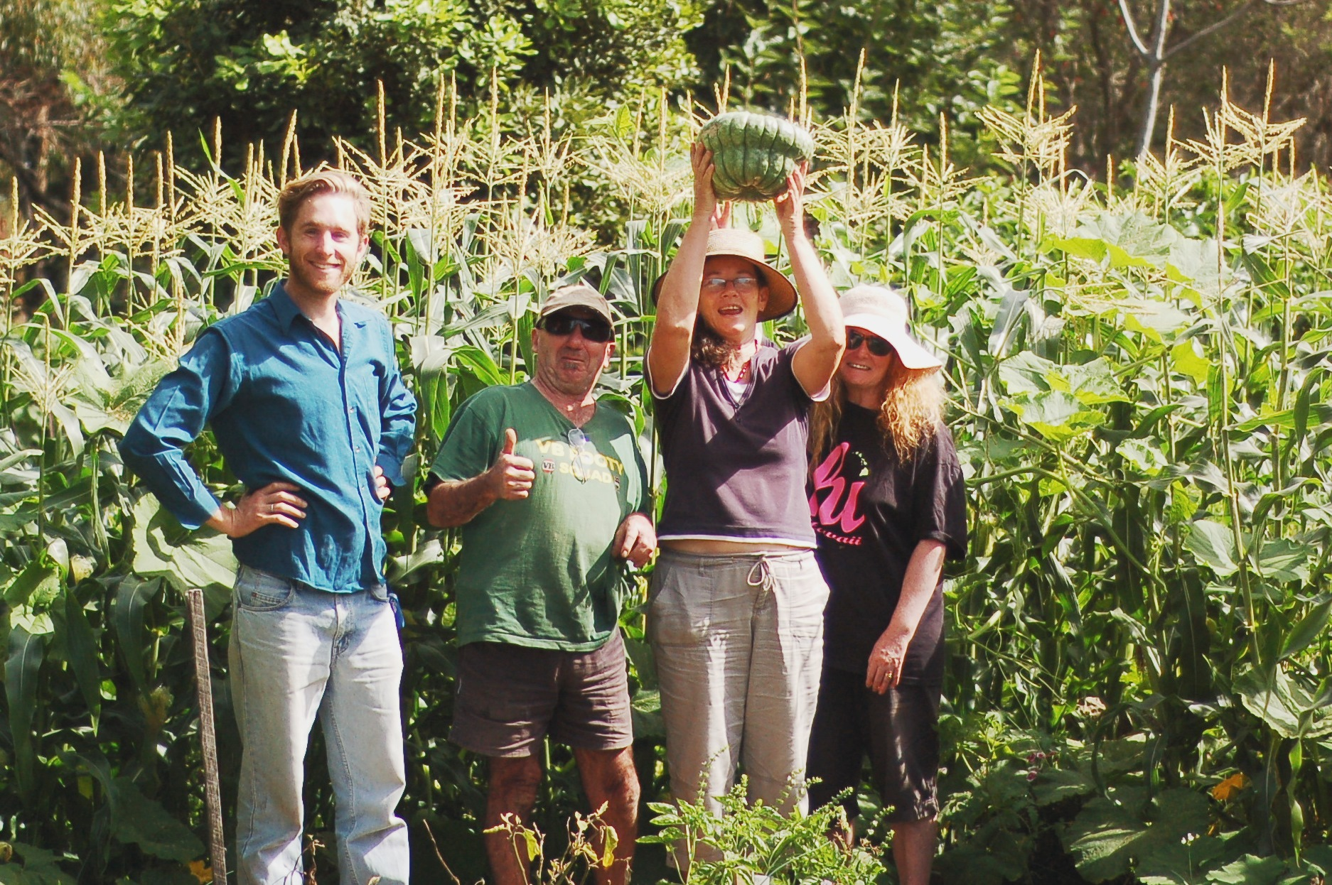 Our Happy gardeners amongst the corn.