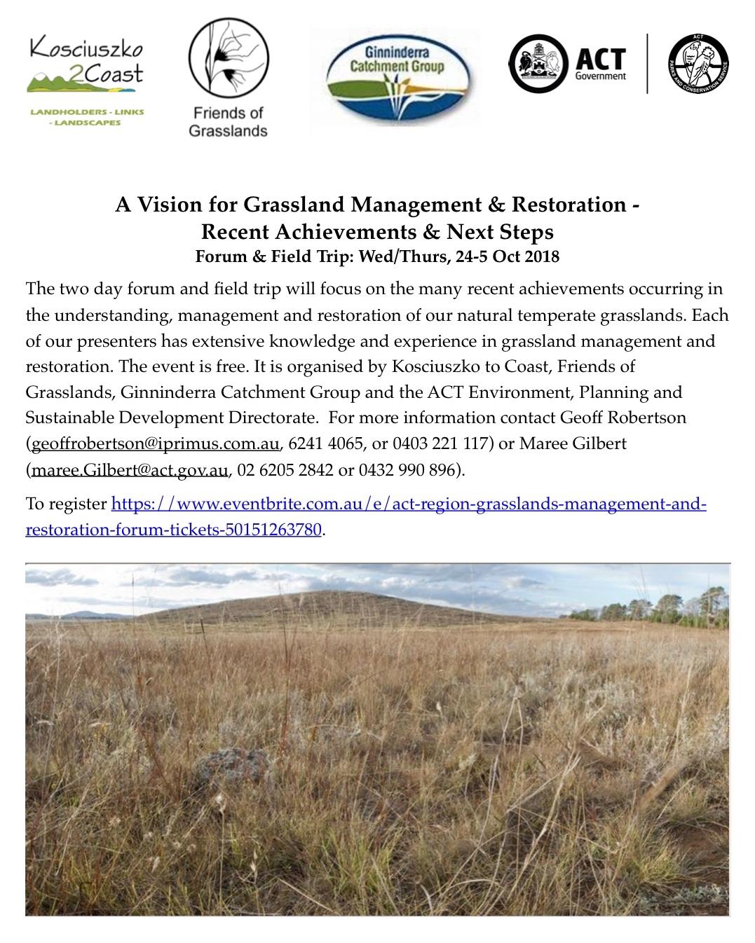 K2C-FOG-ACT Govt Grassland Forum & Field Trip