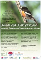 Save our Scarlet Robin Workshop, 18 Nov 2017 - FREE
