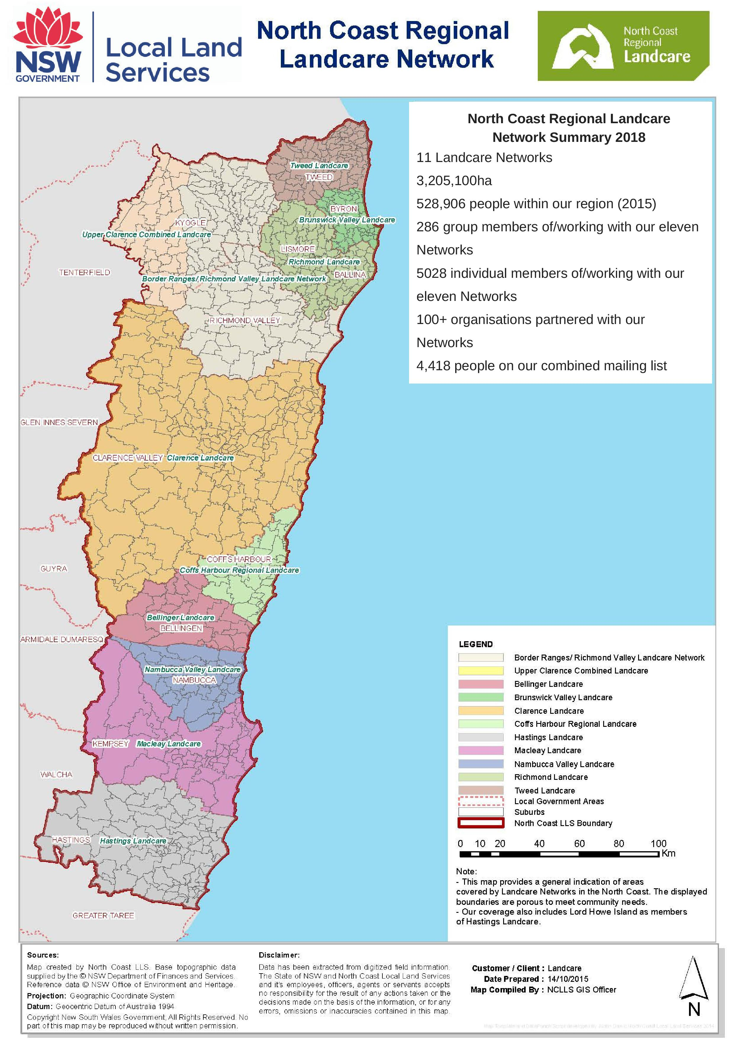 North Coast Landcare Networks Map