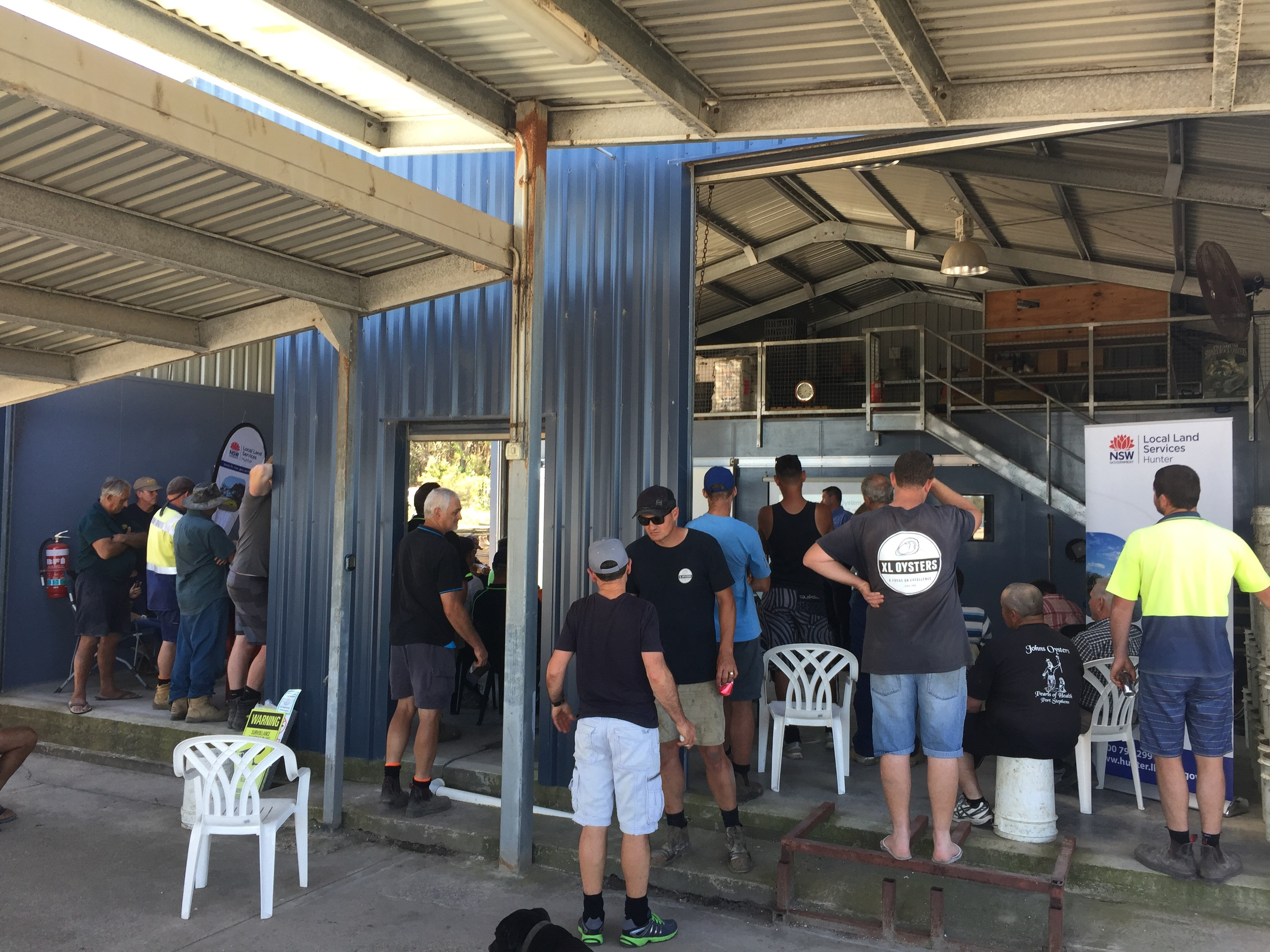 Port Stephens oyster farmer shed day