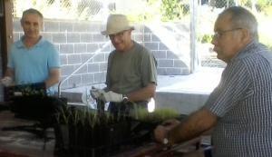 Volunteers Potting on Seedlings