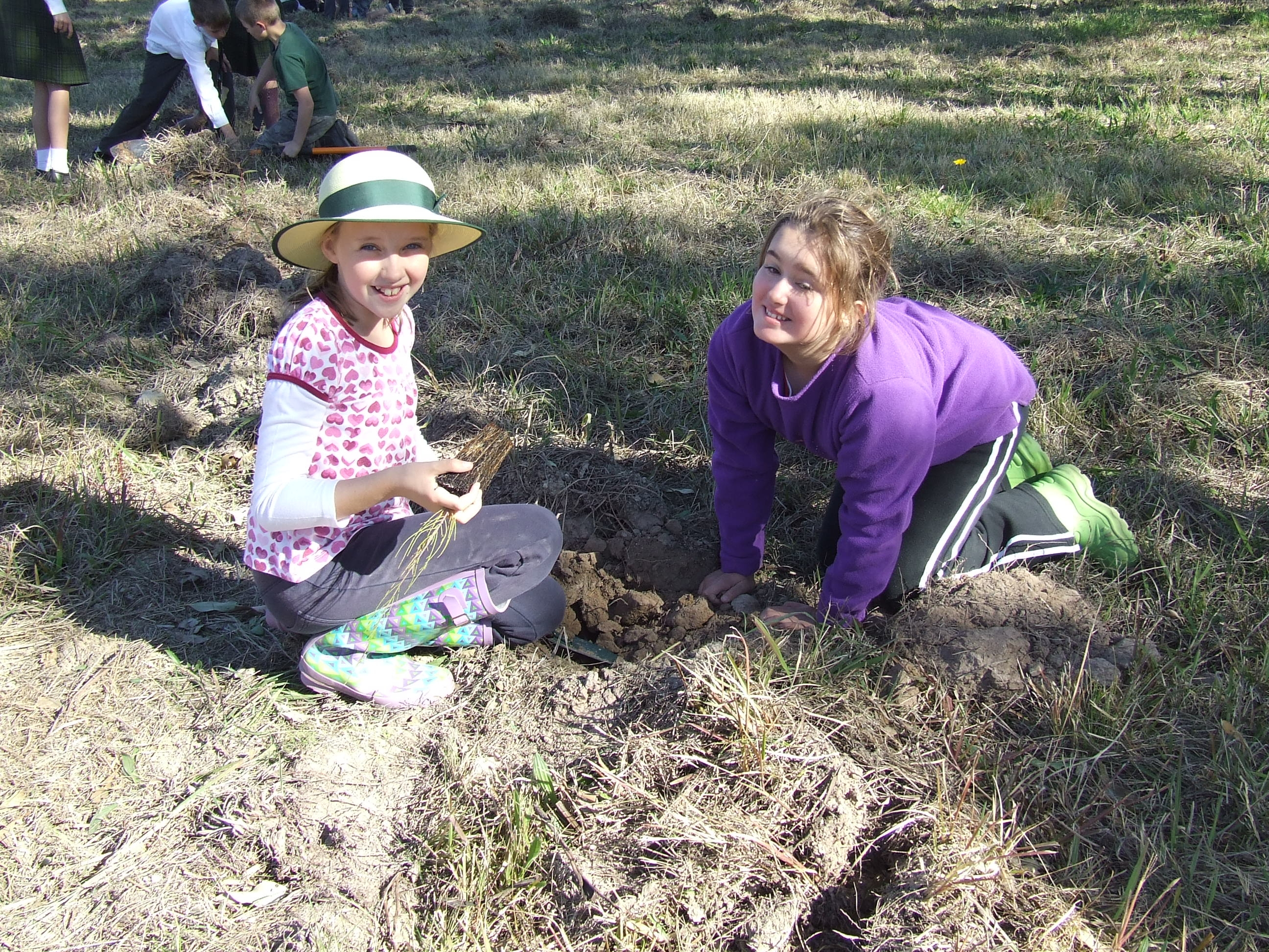 Year 5 girls happily planting trees