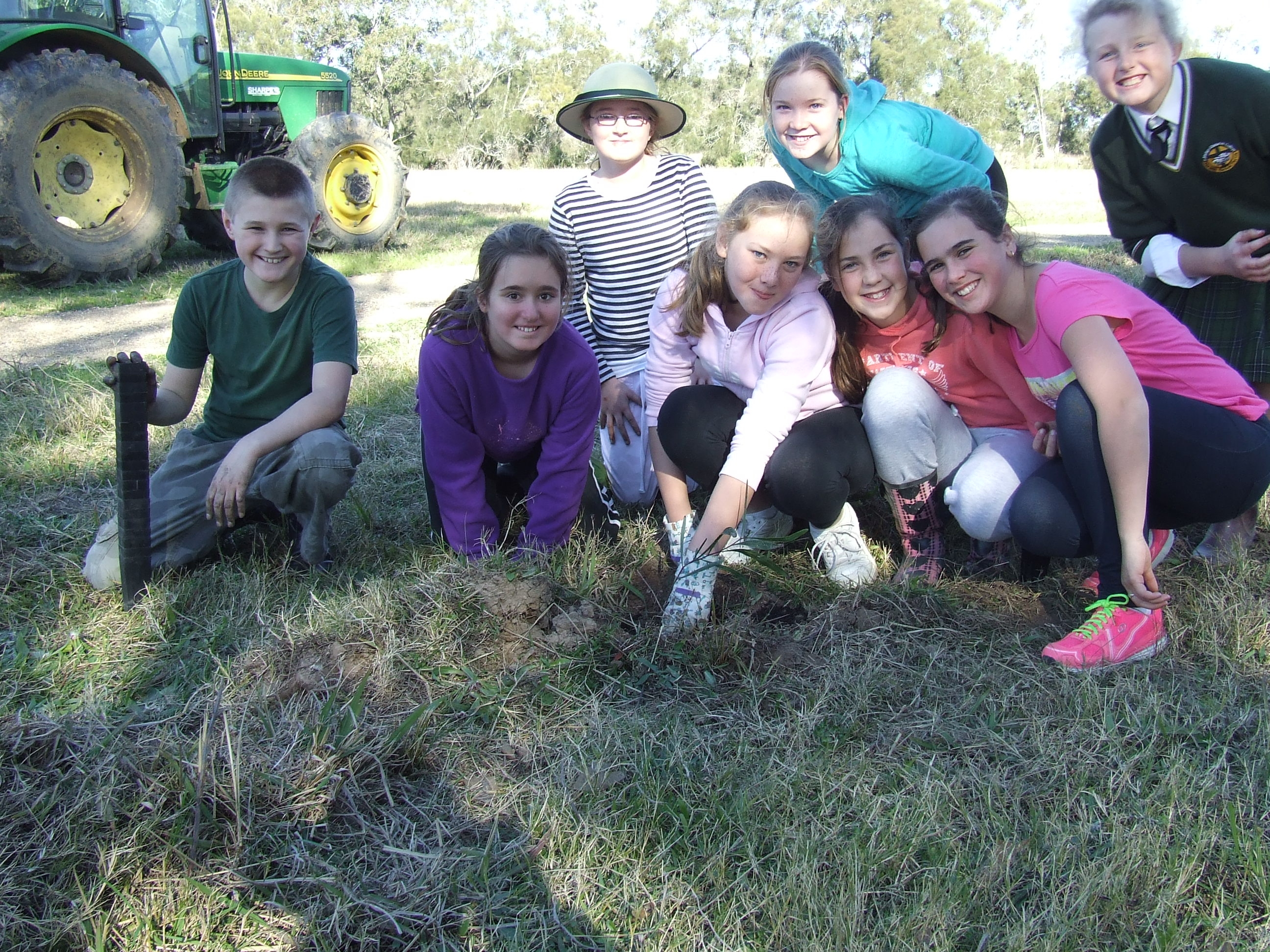 Year 5 students planting trees