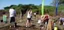 Byron High School watering in hindune plantings with Byron Rural Fire Service