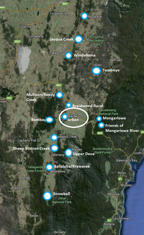 Map of Landcare Groups in the Upper Shoalhaven